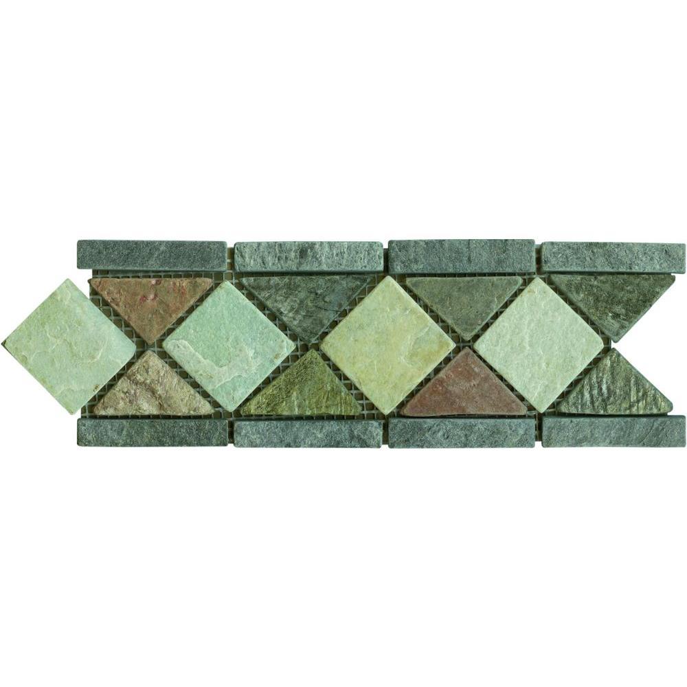 MS International Aspen Slate Listello 4 in. x 12 in. Floor and Wall Tile