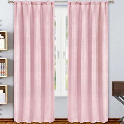 Solid Blush Polyester Blackout Rod Pocket Window Curtain 38 in. W x 84 in. L (2-Pack)