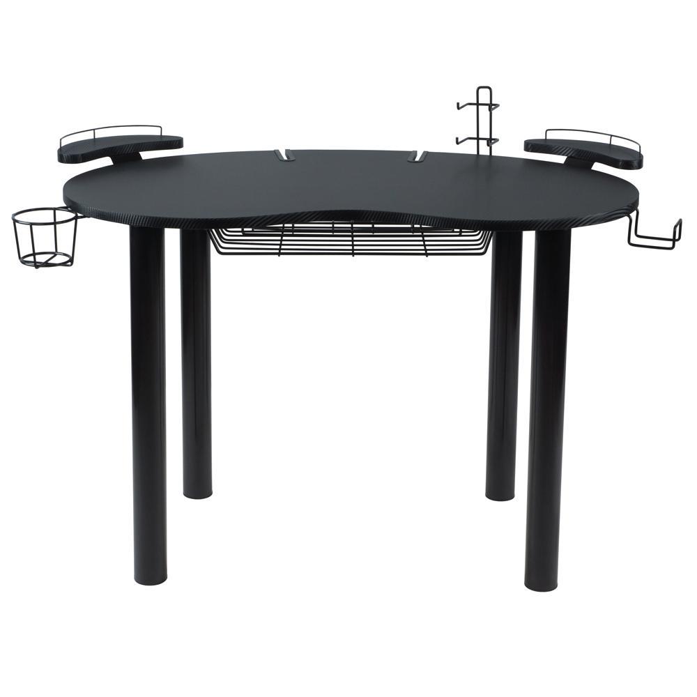 Gaming Desk Wood Top Black Carbon Fiber Eclipse Metal