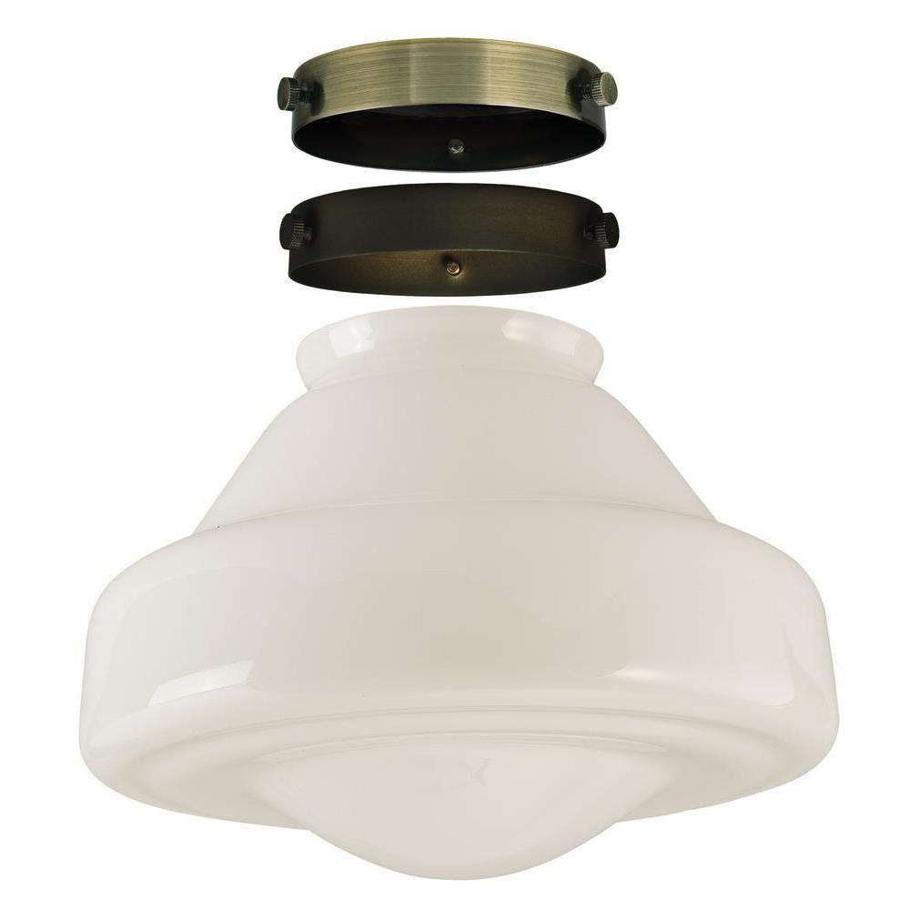 7 in. Hand-Blown White Opal Schoolhouse Shade Kit with 2-1/4 in.