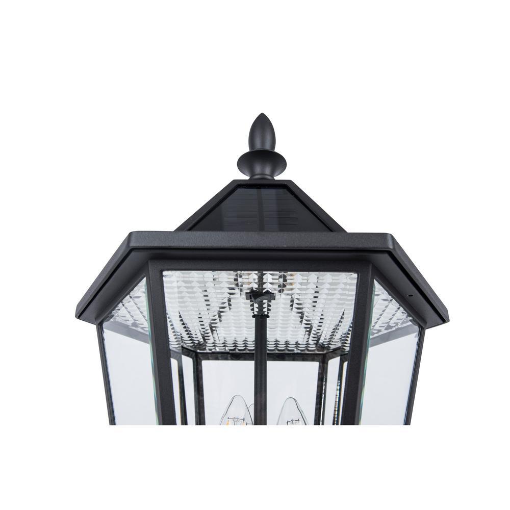 4 PACK Outdoor Post Lantern Light –Matt Black /& Clear Glass–Garden Wall Lamp LED