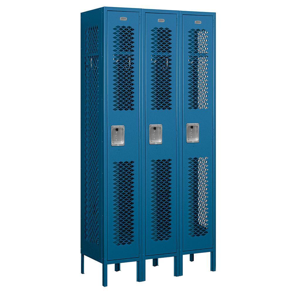 Salsbury Industries 71000 Series 36 in. W x 78 in. H x 15 in. D Single Tier Vented Metal Locker Unassembled in Blue