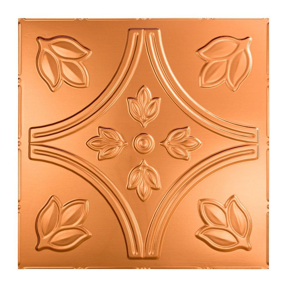 Fasade Traditional 5 - 2 ft. x 2 ft. Lay-in Ceiling Tile in Polished Copper
