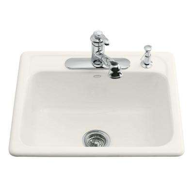 Mayfield Drop-In Cast-Iron 25 in. 3-Hole Single Bowl Kitchen Sink in Biscuit