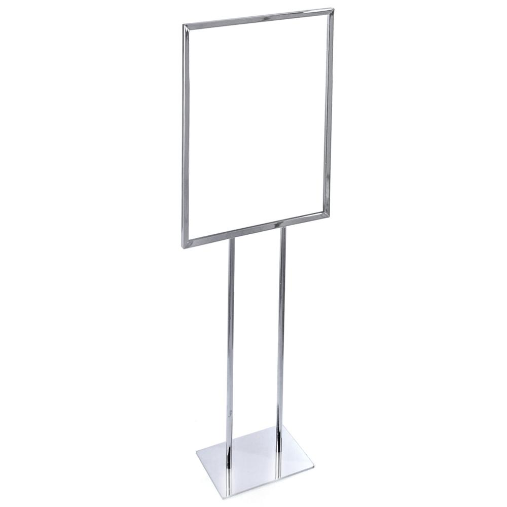 Azar Displays 22 in. W x 28 in. H Chrome Single Panel Sign Easel on Narrow Base