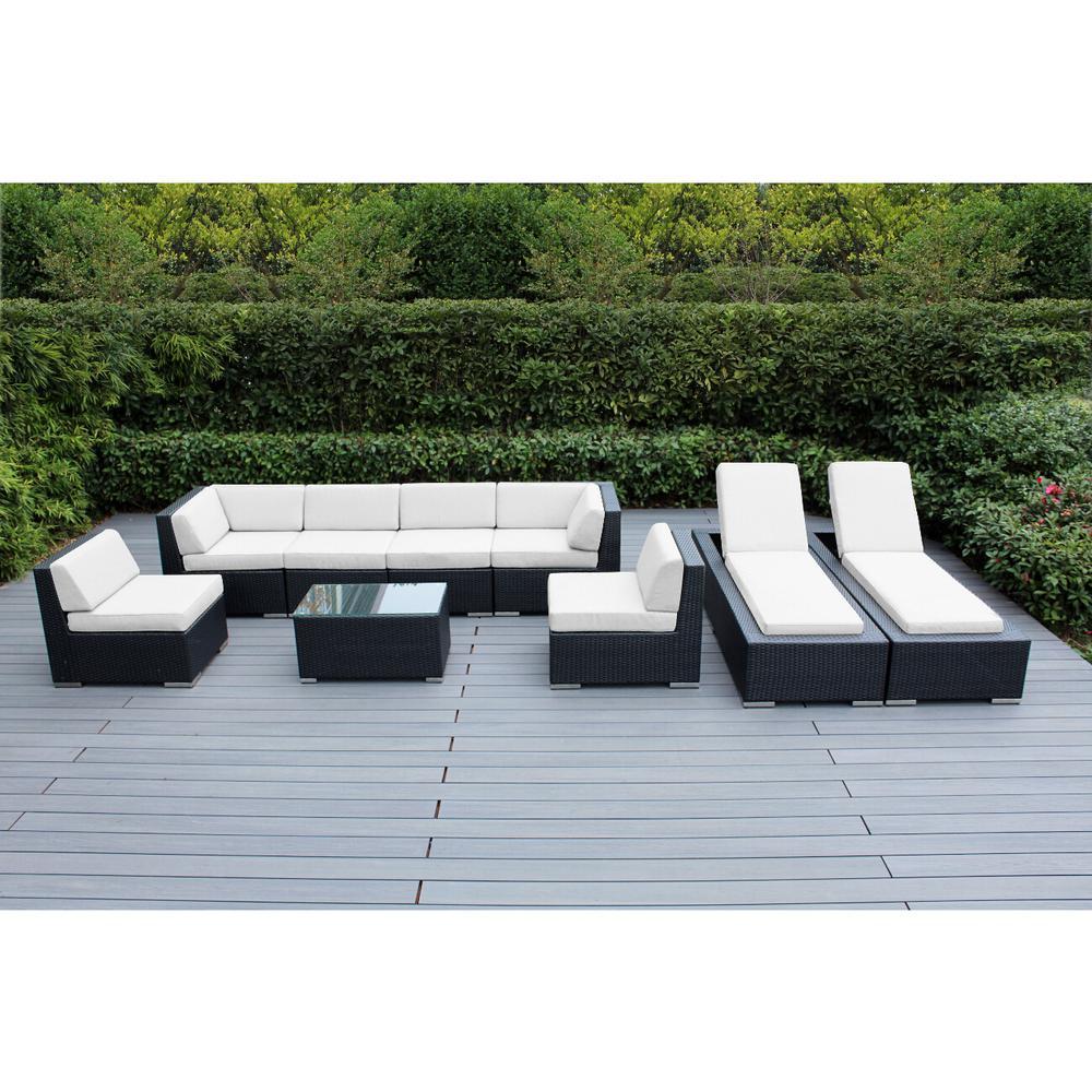 Black 9-Piece Wicker Patio Combo Conversation Set with Sunbrella Natural Cushions