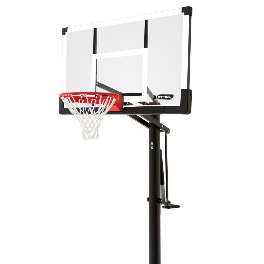 54 in. Tempered Rigid Arm, Pump Adjust In-Ground Basketball System