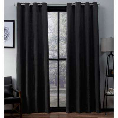 Virenze 54 in. W x 96 in. L Faux Silk Grommet Top Curtain Panel in Midnight (2 Panels)