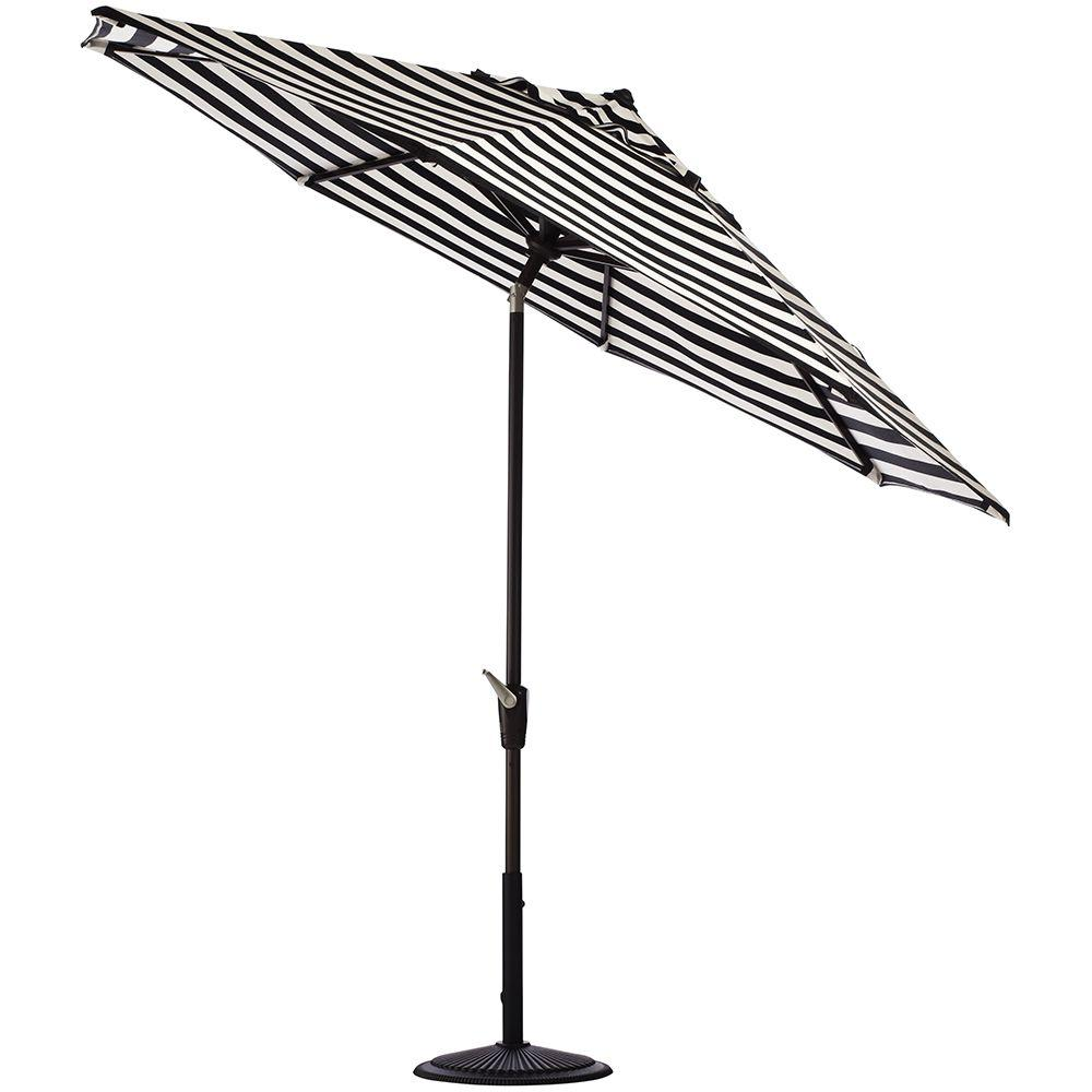 Home Decorators Collection 11 ft. Auto-Tilt Patio Umbrella in Maxim Classic Sunbrella with Black Frame