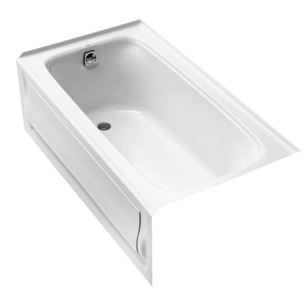 Kohler Bancroft Bubblemage Acrylic Left Drain Rectangular Alcove Whirlpool Bathtub In White