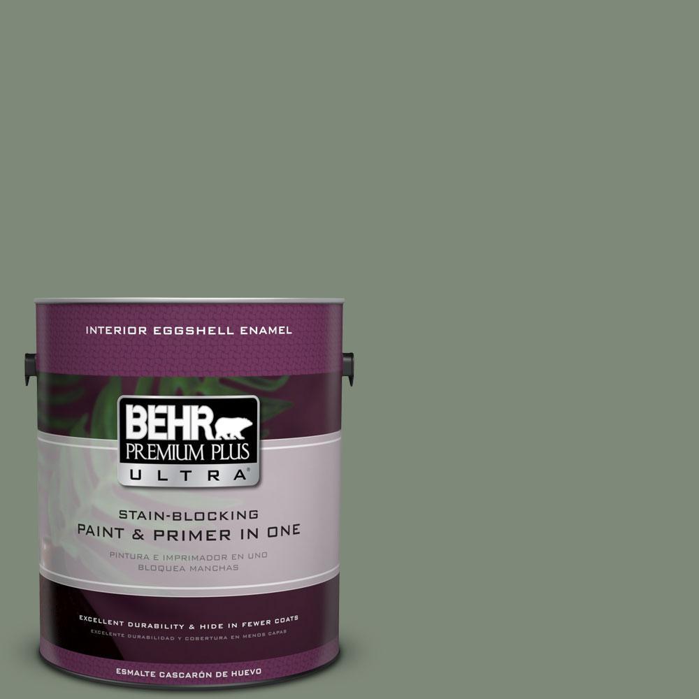 BEHR Premium Plus Ultra 1-gal. #450F-5 Amazon Moss Eggshell Enamel Interior Paint