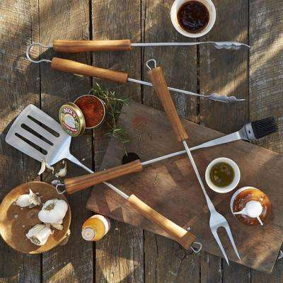 BBQ 4-Piece Grill Set in Acacia