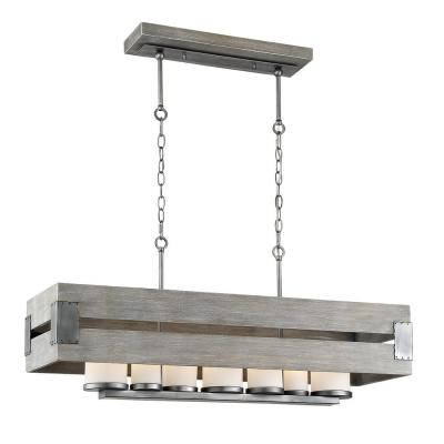 Ackwood 7-Light Grey Wood Rectangular Chandelier with White Opal Glass Shades