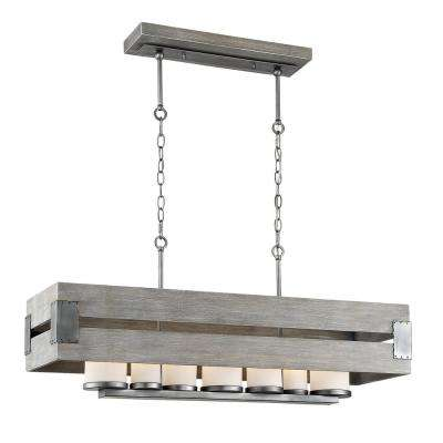 Ackwood 7 Light Grey Wood Rectangular Chandelier With White Opal Gl Shades