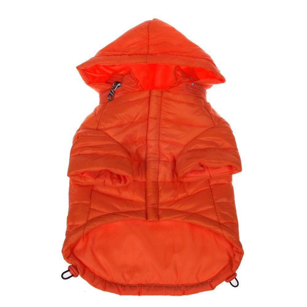 PET LIFE Small Burst Orange Lightweight Adjustable Sporty Avalanche Dog Coat with Removable Pop Out Collared Hood