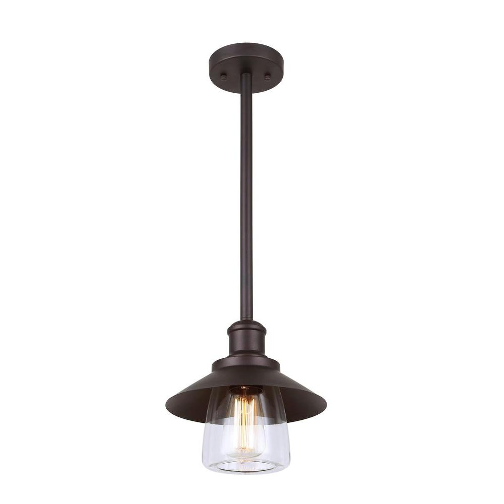 CANARM Indi 1-Light Bronze Pendant With Clear Glass
