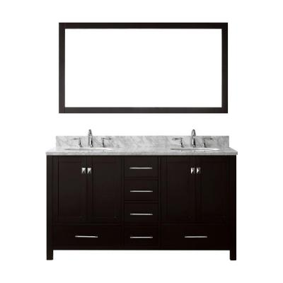 Caroline Avenue 60 in. W Bath Vanity in Espresso with Marble Vanity Top in White with Round Basin and Mirror