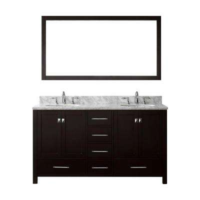 Caroline Avenue 60 in. W x 36 in. H Vanity with Marble Vanity Top in Carrara White with White Basin and Mirror