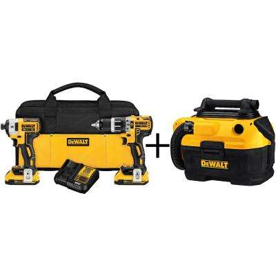 20-Volt MAX Lithium-Ion Cordless Brushless Combo Kit (2-Tool) with bonus 2 Gal. MAX Cordless/Corded Wet/Dry Vacuum