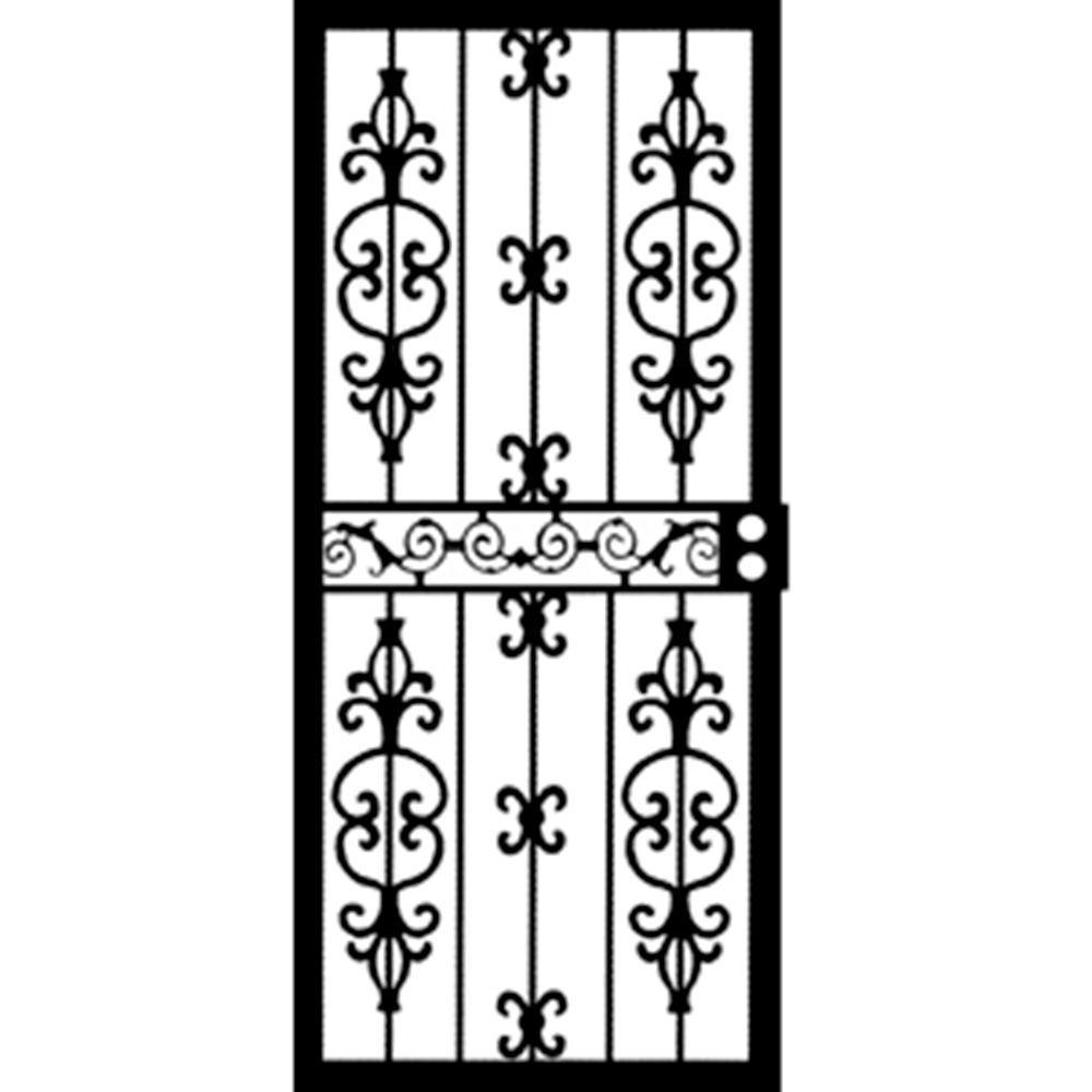 36 in. x 80 in. 407 Series Black Moscow Security Door