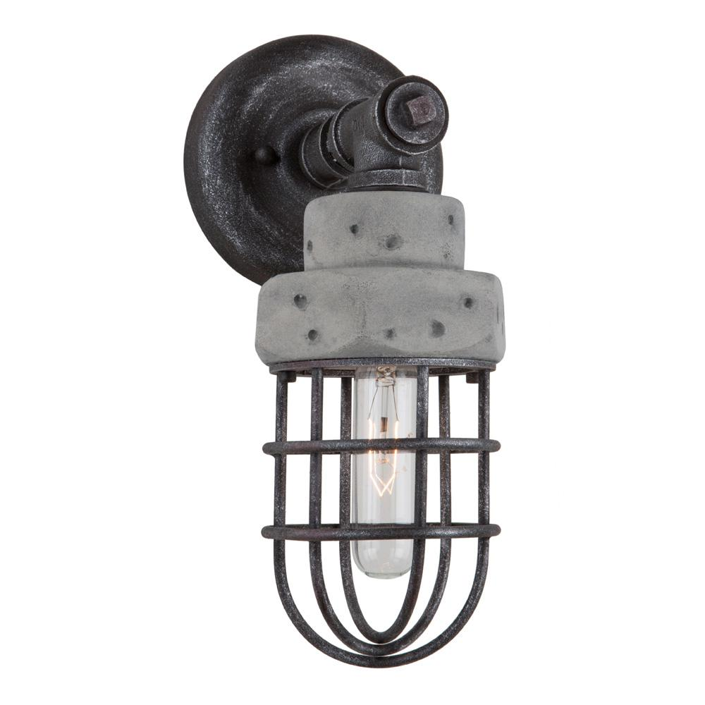 ARTCRAFT Loft 1-Light Slate and Grey Sconce The  Loft  Collection features a metal frame in a slate finish with authentic concrete housing. Very industrial as suited by its collection name.
