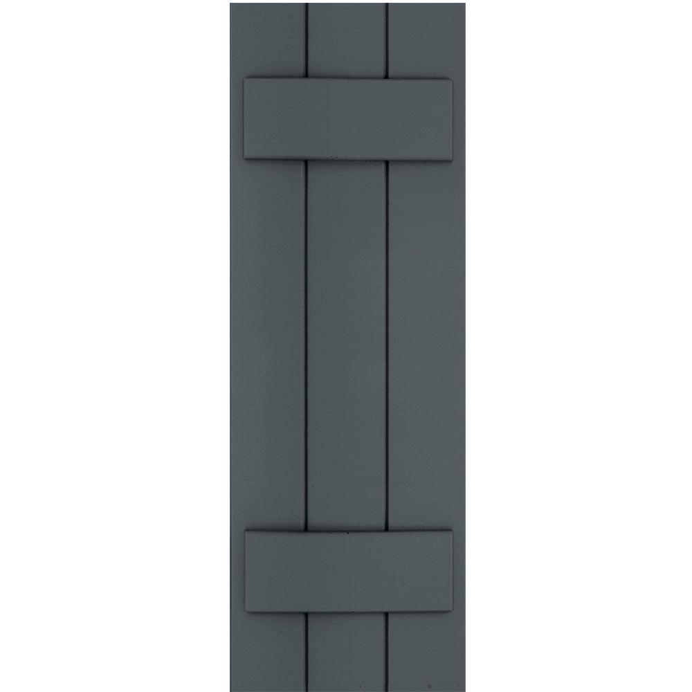 Winworks Wood Composite 12 in. x 35 in. Board & Batten Shutters Pair #663 Roycraft Pewter