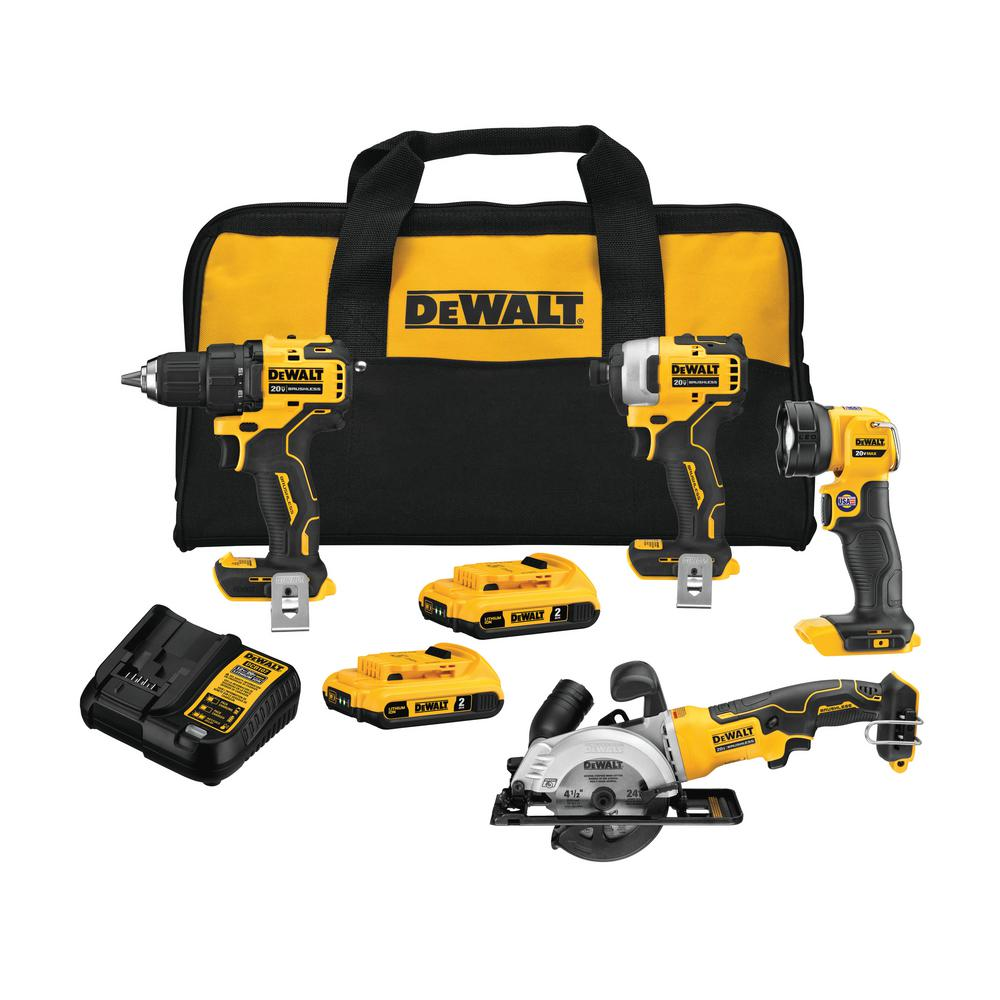 DEWALT ATOMIC 20-Volt MAX Lithium-Ion Brushless Cordless Combo Kit (4-Tool) with 2 Batteries 2.0 Ah, Charger, and Tool Bag