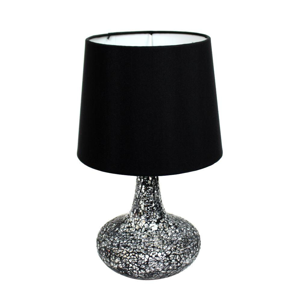 Simple Designs Madison 14.17 in. Black and Silver Mosaic Tiled ...