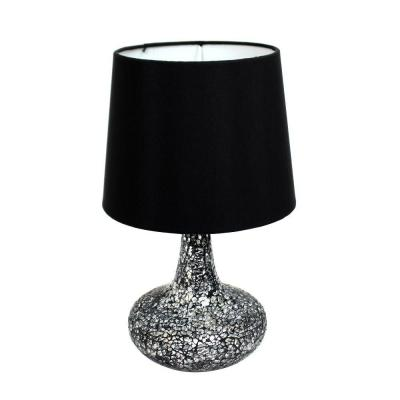 14.17 in. Black and Silver Mosaic Tiled Glass Genie Table Lamp with Satin Look Fabric Shade