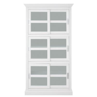 Lexington 72 in. White Wood 6-shelf Standard Bookcase with Sliding Doors