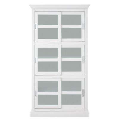 Lexington White Glass Door Bookcase