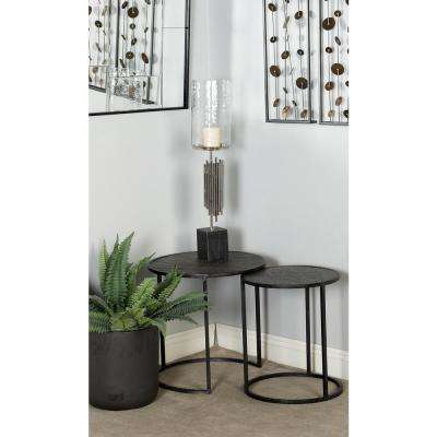 28 in. Silver Tubes Design Metal and Marble Candle Holder with Glass Hurricane