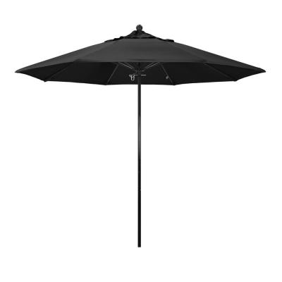 9 ft. Fiberglass Market Push Lift Patio Umbrella in Black Olefin