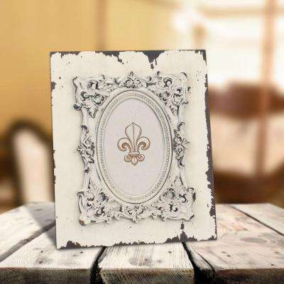 1-Opening 4 in. x 6 in. Weathered White Wood Polyresin Picture Frame