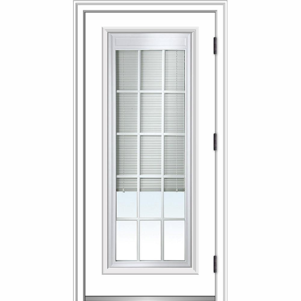 MMI Door 32 in. x 80 in. Internal Blinds and Grilles Left Hand Outswing Full Lite Clear Primed Steel Prehung Front Door