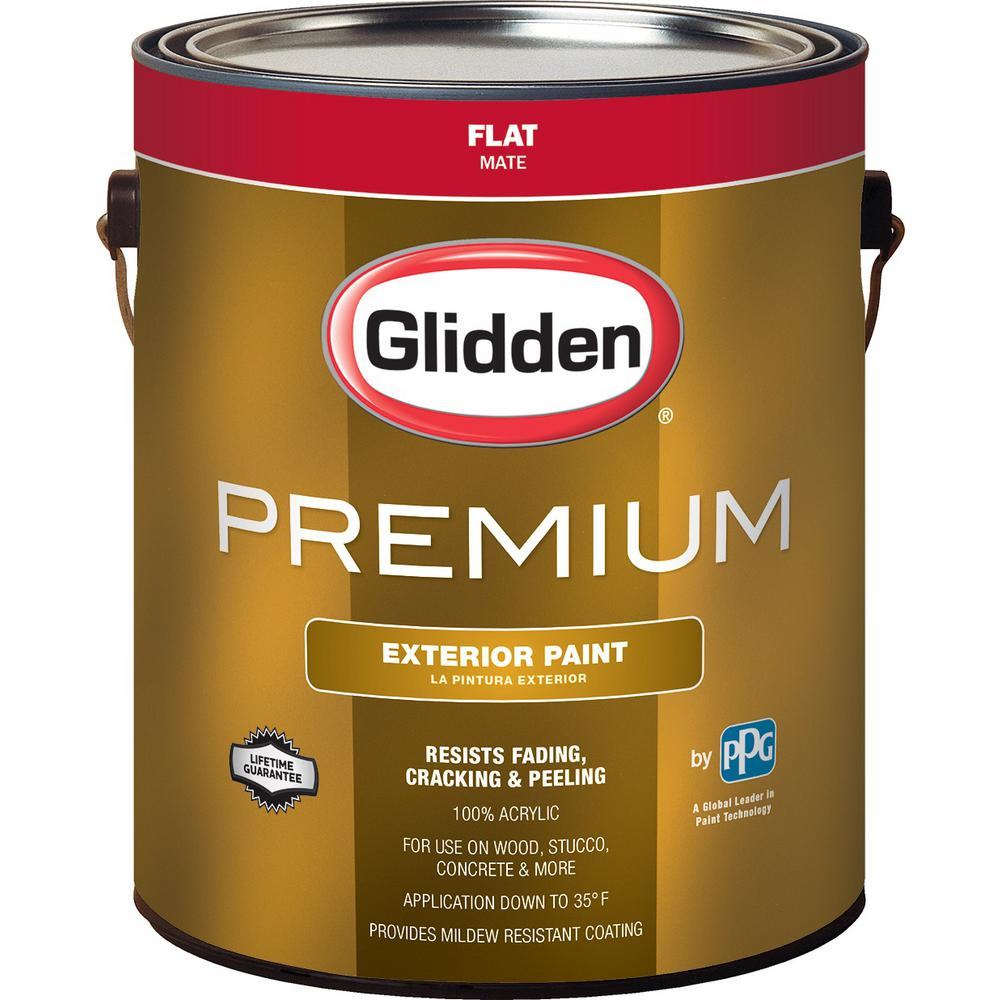Glidden Premium 1 gal. Flat Base 1 White Exterior Latex Paint-GL6111 ...