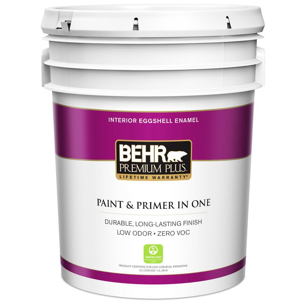 Behr premium plus 5 gal ultra pure white eggshell enamel zero voc interior paint and primer in for Best interior paint and primer in one