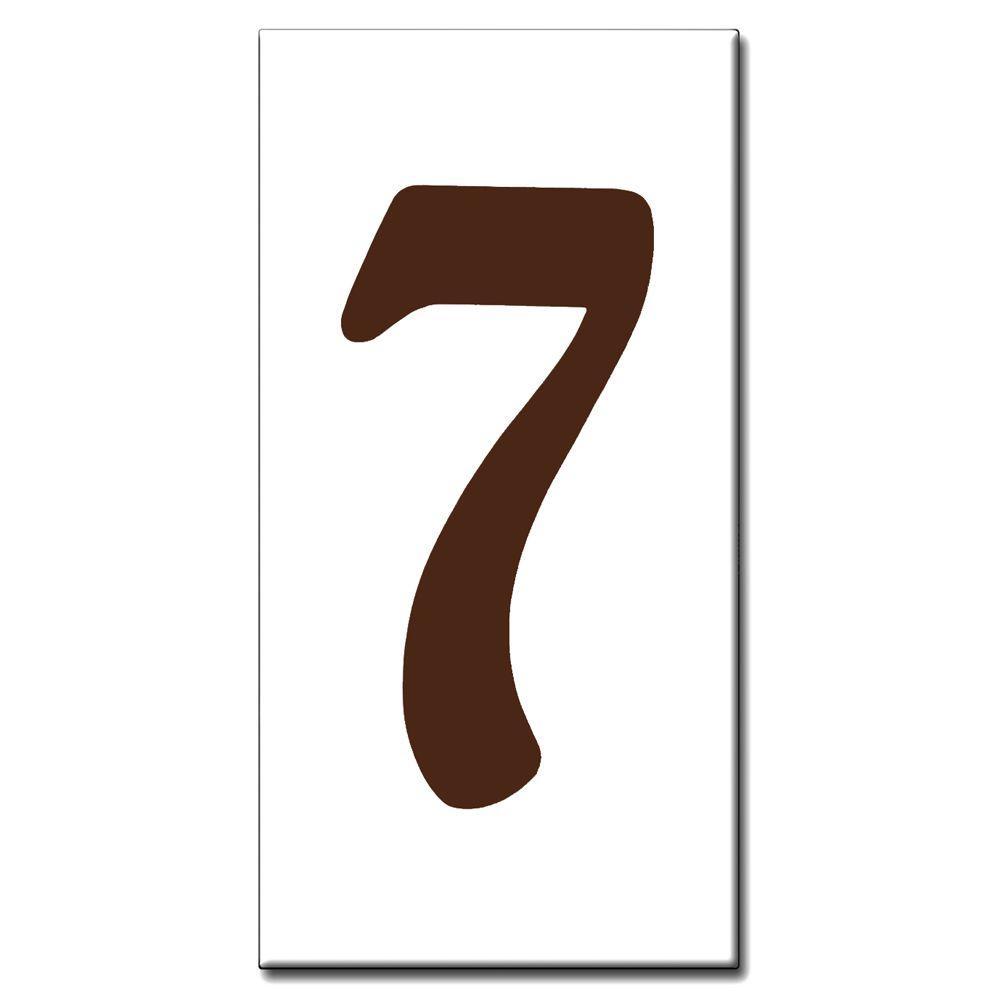 Brown Standard 2 in. x 4 in. Ceramic Tile House Address Number 7