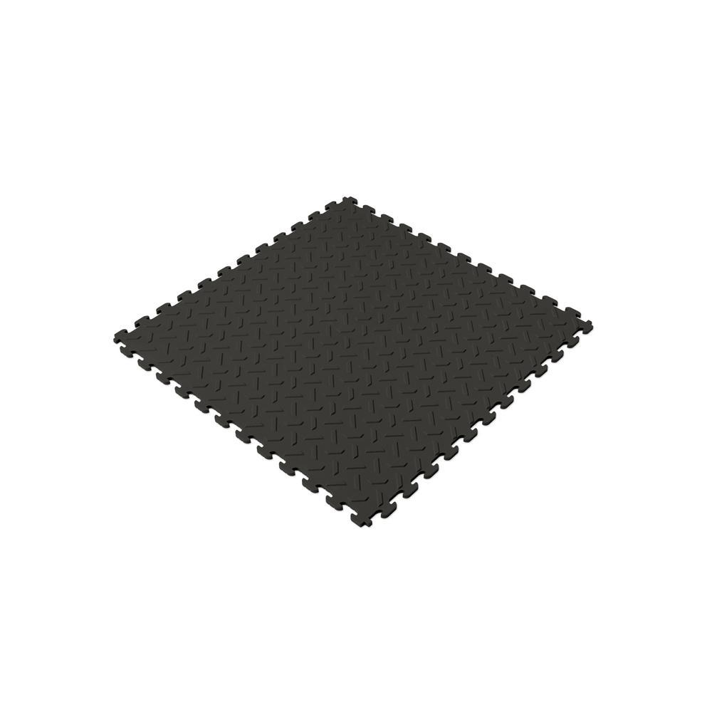 18.4 in. x 18.4 in. Black PVC Garage Flooring Tile (6-Pack)