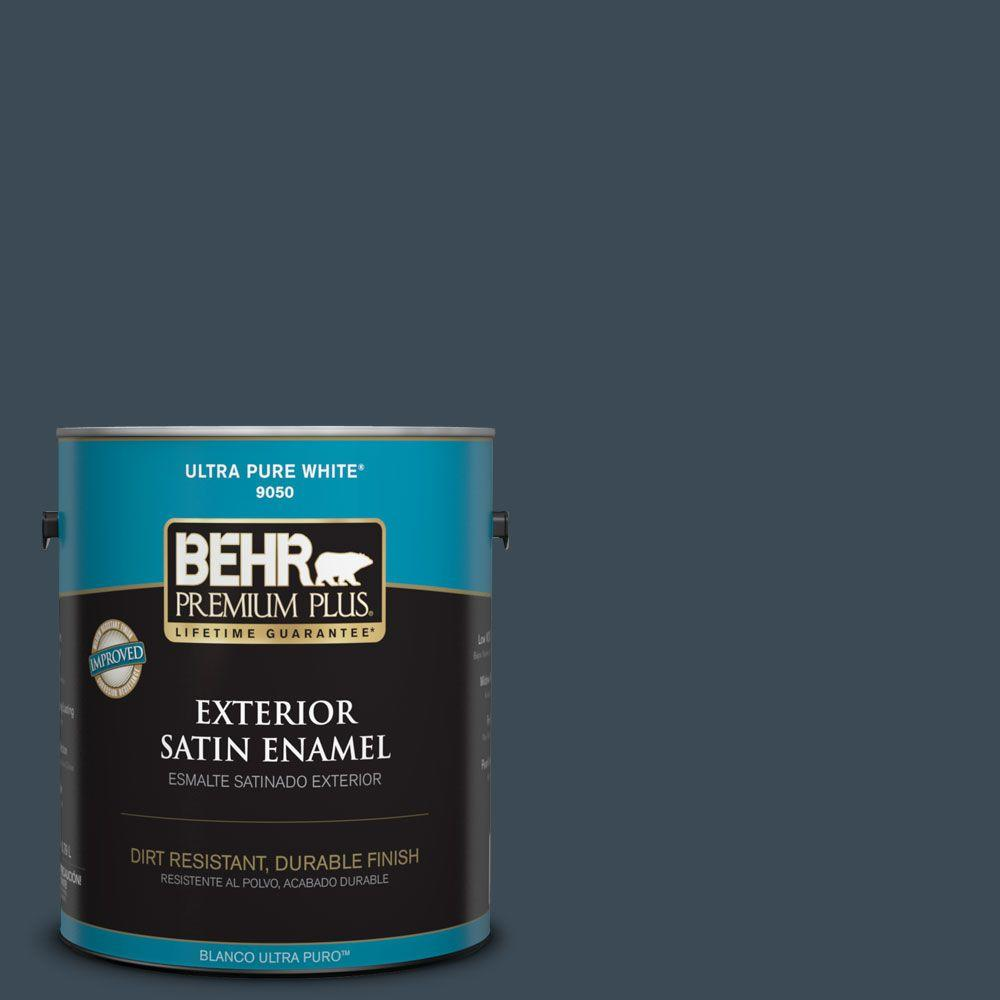 1-gal. #BXC-26 New Navy Blue Satin Enamel Exterior Paint
