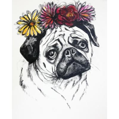 """16 in. x 20 in. """"Pug Life"""" by Mat Printed and Painted Canvas Wall Art"""