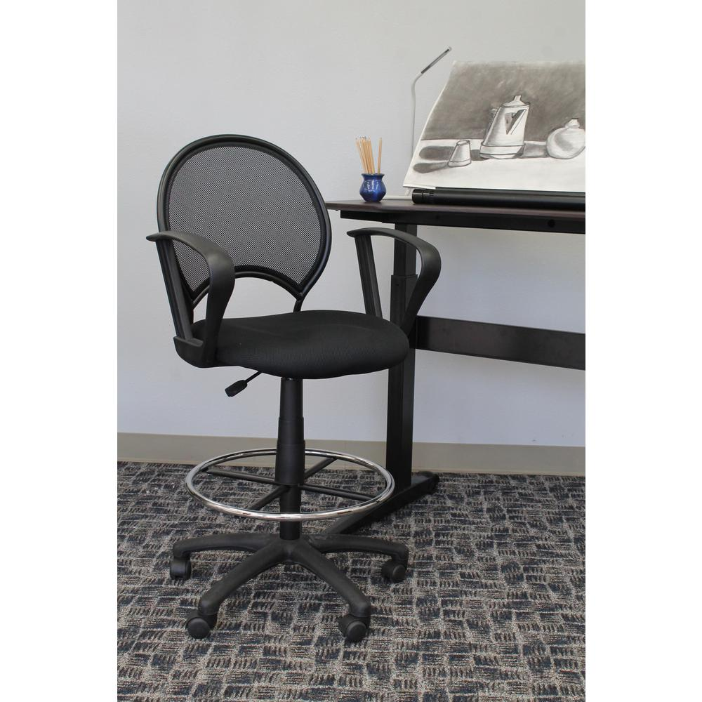 Boss Black Mesh Drafting Stool With Loop Arms B16217 The