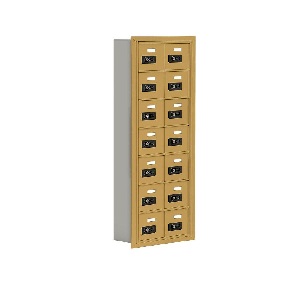 Salsbury Industries 19000 Series 17.5 in. W x 42 in. H x 5.75 in. D 14 A Doors R-Mount Resettable Locks Cell Phone Locker in Gold