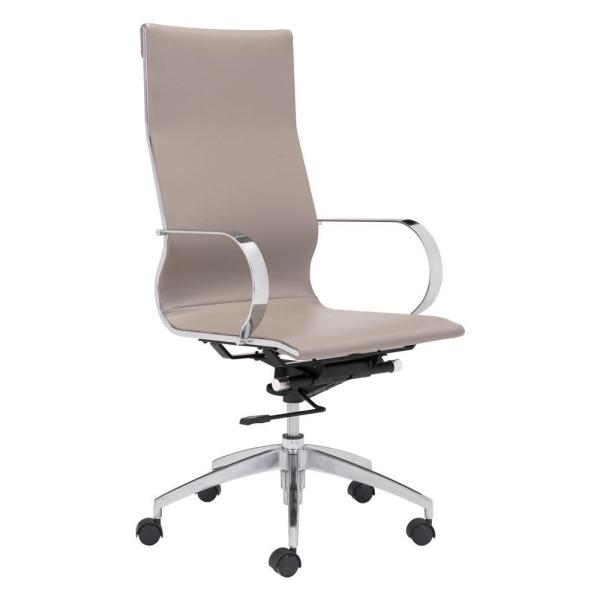 ZUO Glider Taupe Leatherette High Back Office Chair