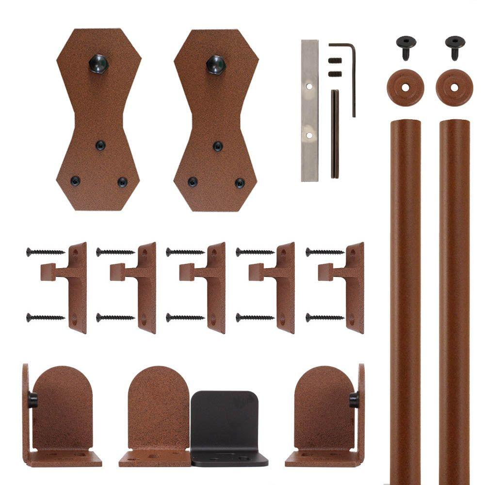 Wedge Black Rolling Door Hardware Kit For 3 4 In To 1 1 2