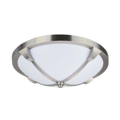 14 in. 11-Watt Satin Nickel Integrated LED Ceiling Flush Mount with Milk White Acrylic Diffuser