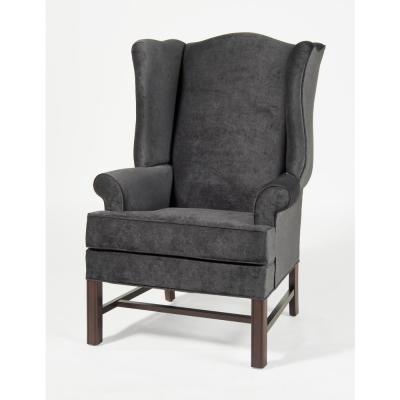 Chippendale Elizabeth Charcoal Wing Chair