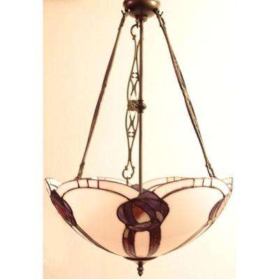 Tiffany Style 2-Light Amethyst Scalloped Bronze Hanging Lamp