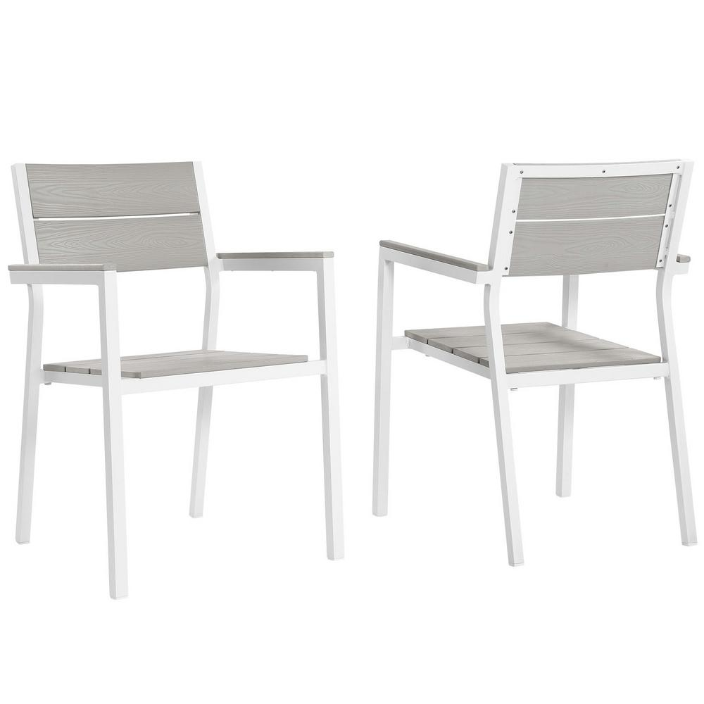Maine White Aluminum Outdoor Patio Dining Chair in Light Gray (Set