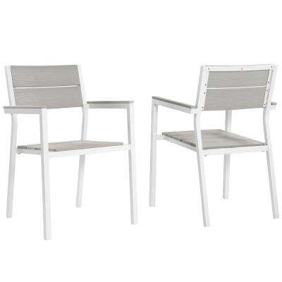 Maine White Aluminum Outdoor Patio Dining Chair in Light Gray (Set of 2)